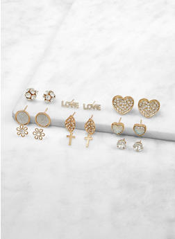 Set of 9 Rhinestone Stud Earrings - 1135072697651