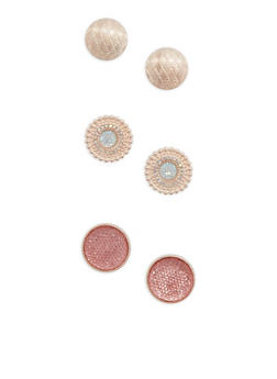 Set of 3 Oversized Metallic Stud Earrings - 1135072697704
