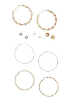 Set of 6 Rhinestone and Faux Pearl Stud and Hoop Earrings - 1135072697744