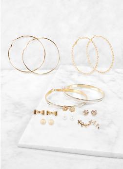 Glitter Hoop and Faux Pearl Stud Earrings - 1135072699567