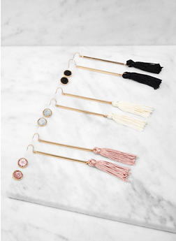 Stick Tassel and Stud Earrings Set - 1135073840649