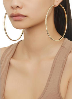 Oversized Hoop Earring Trio - 1135073840906