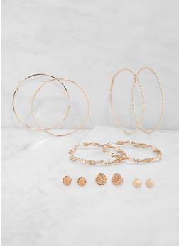 Set of 6 Metallic Stud and Hoop Earrings - 1135073841024