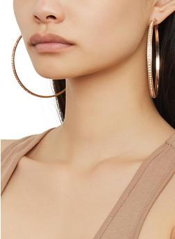 Set of 9 Assorted Rhinestone Hoop Earrings - 1135073841370