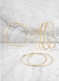 Set of 4 Oversized Hoop Earrings - 1135073841499