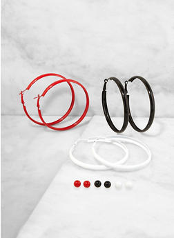 Painted Hoop and Stud Earring Trio - 1135073843788