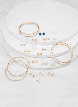 Assorted Stud and Hoop Earrings Set - 1135073844386