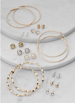12 Assorted Hoop and Stud Earrings Set - 1135073844389