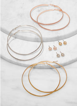 6 Assorted Hoop and Ball Stud Earrings - 1135073844714