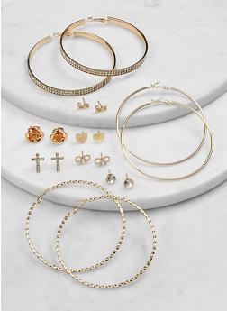 Flower Stud and Rhinestone Hoop Earrings Set - 1135073844742