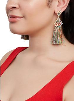 Double Rhinestone Tassel Drop Earrings - 1135073844797
