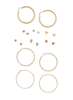 Assorted Hoop and Stud Earrings Set - 1135073848253
