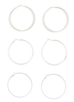 Textured Hoop Earrings Trio - 1135073848347