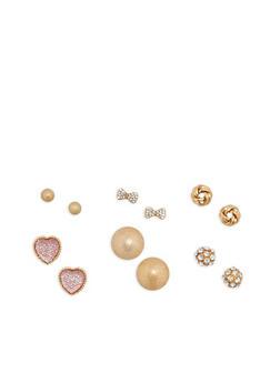 Set of 6 Metallic Rhinestone Stud Earrings - 1135073848447
