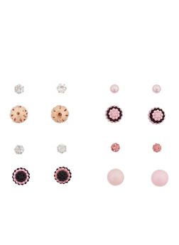 Set of 4 Rhinestone and Faux Pearl Reversible Stud Earrings - 1135073848544