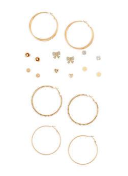 Set of 6 Rhinestone Stud Earrings and 3 Hoop Earrings - 1135073848575