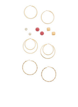 Set of 6 Stud and Large Hoop Earrings - 1135073848577