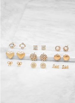 Set of 9 Stud Earrings - 1135073848797