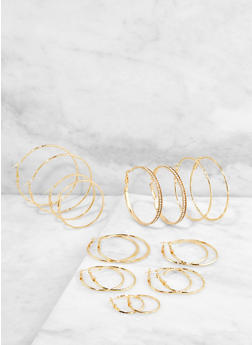 Set of 9 Metallic Hoop Earrings - 1135073849138