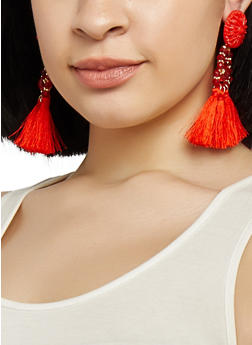 Beaded Tassel Drop Earrings - 1135073849263