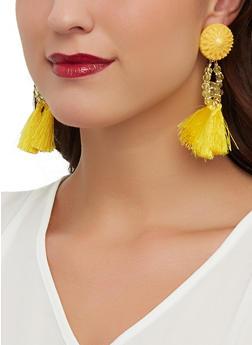 Beaded Tassel Drop Earrings - 1135073849263