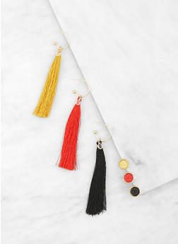 Set of Assorted Tassel Hoop and Stud Earrings - 1135073849372