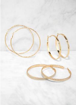 Set of 3 Glitter Metallic Hoop Earrings - 1135073849798