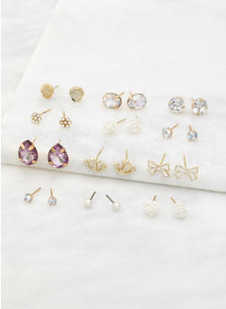 Set of 12 Assorted Stud Earrings - 1135074141053