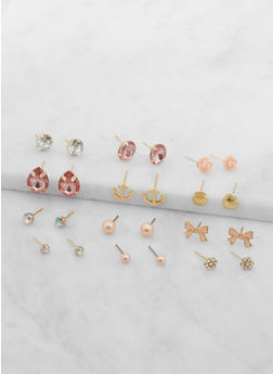 Set of 12 Assorted Stud Earrings - 1135074141053