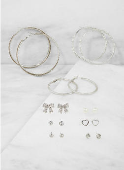 Rhinestone Stud and Textured Hoop Earrings Set - 1135074141060