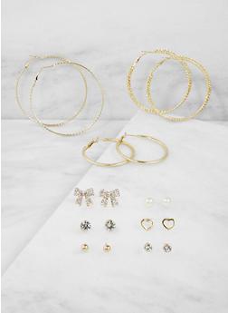 Rhinestone Stud and Textured Hoop Earrings Set - 1135074141060