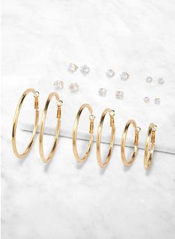 Variegated Stud and Hoop Earrings Set - 1135074141124