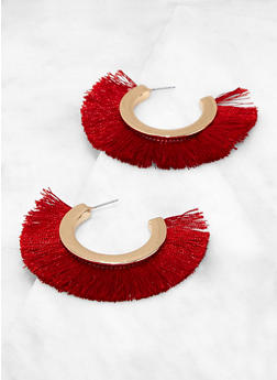 Fringe Open Hoop Earrings - 1135074141223