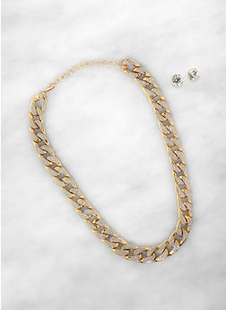 Metallic Glitter Curb Chain Necklace with Stud Earrings - 1135074141243