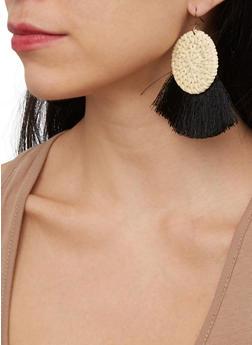 Straw Fringe Disc Earrings - 1135074141572