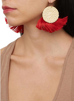Straw Fringe Disc Earrings - 1135074141572