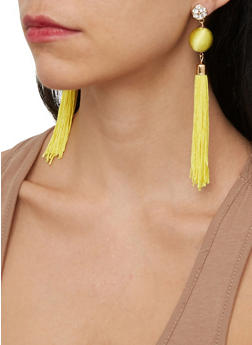 Rhinestone Tassel Ball Earrings - 1135074141578