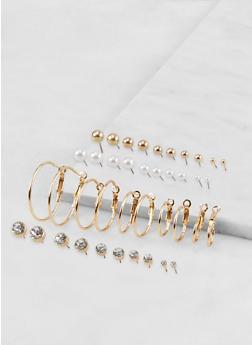Set of 20 Small Stud and Hoop Earrings - 1135074141580