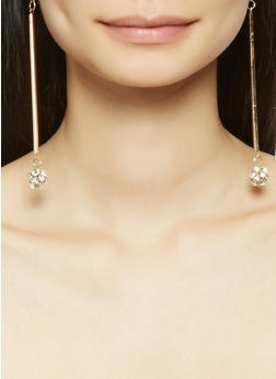 Rhinestone Ball Stick Earrings Trio - 1135074171712