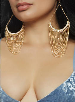 Chain Fringe Drop Earrings - 1135074171715