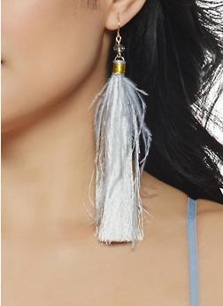 Feather Tassel Drop Earrings - 1135074171717
