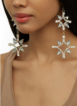Rhinestone Starburst Drop Earrings - 1135074171817