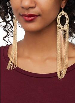 Circular Metallic Fringe Drop Earrings - 1135074171913