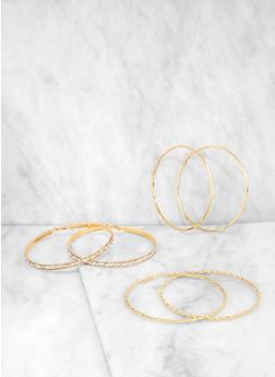 Oversized Metallic Hoop Earrings Set - 1135074174591