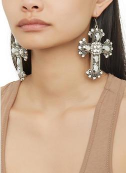 Gothic Rhinestone Cross Earrings - 1135074179131