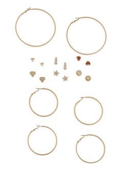 Set of 6 Rhinestone Stud and 3 Hoop Earrings - 1135074372121