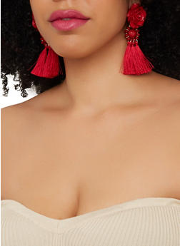 Beaded Rose Tassel Earrings - 1135074373014
