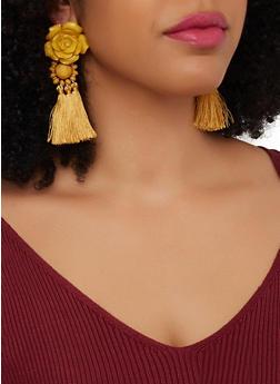 Beaded Rose Tassel Earrings - 1135074373014
