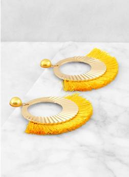 Hammered Metallic Fringe Earrings - 1135074373537