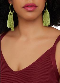 Threaded Tassel Hoop Earrings - 1135074373540